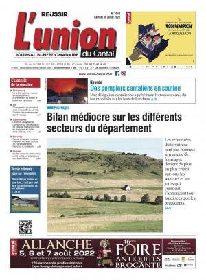 La couverture du journal L'Union du Cantal n°3188 | juillet 2018